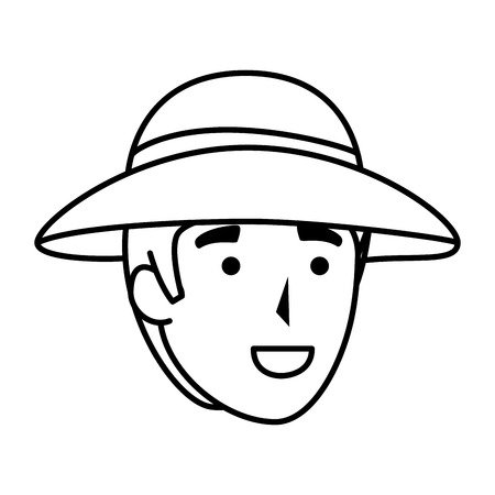 man worker of zoo head character vector illustration design Ilustrace