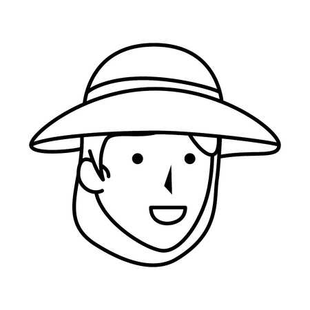 woman worker of zoo head character vector illustration design Illusztráció