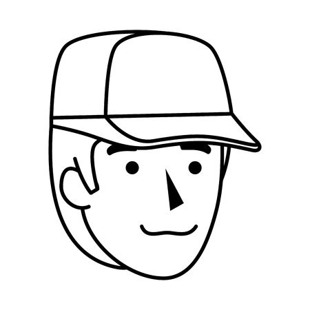 man worker of zoo head character vector illustration design  イラスト・ベクター素材