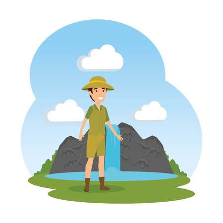 man worker of zoo in the landscape vector illustration design
