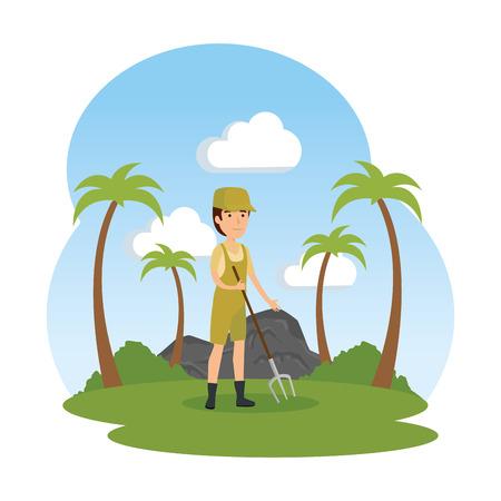man worker of zoo in the landscape vector illustration design Archivio Fotografico - 125075936