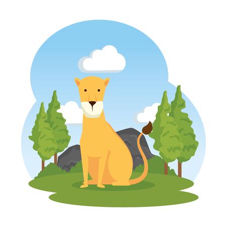 african lioness in the landscape vector illustration design Illustration
