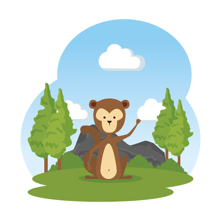 funny monkey in the field character vector illustration design Reklamní fotografie - 125075940
