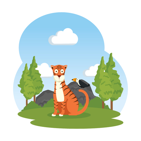 african tiger in the field vector illustration design Ilustrace