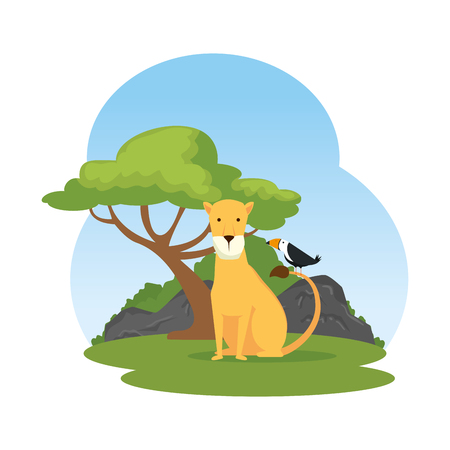 african lioness in the landscape vector illustration design Reklamní fotografie - 125075943