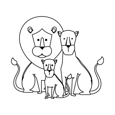 african lions family characters vector illustration design Banque d'images - 125075944