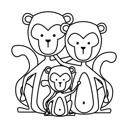 funny family monkeys wild characters vector illustration design Banque d'images - 125077742