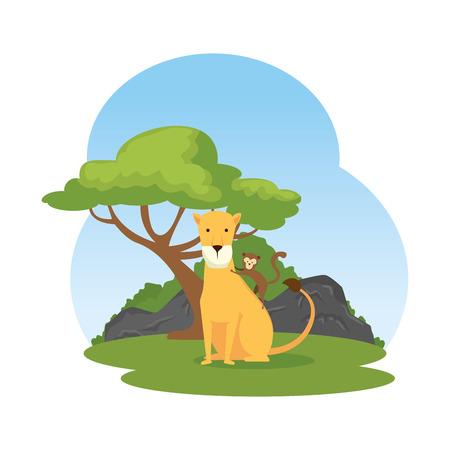 african lioness in the landscape vector illustration design Ilustrace