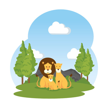 african lions family in the field vector illustration design Banque d'images - 125077745