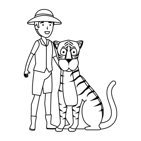 man worker of zoo with tiger vector illustration design Stock Illustratie