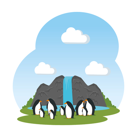 cute penguins birds in the landscape characters vector illustration design