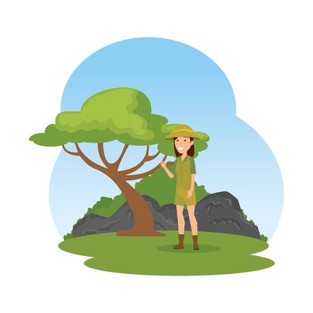 woman worker of zoo in the landscape vector illustration design Illustration