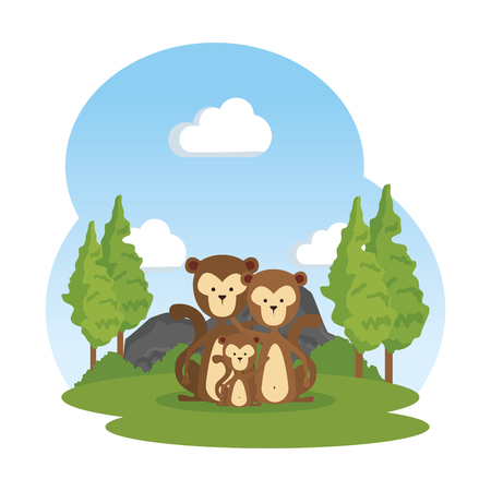 funny family monkeys in the field vector illustration design