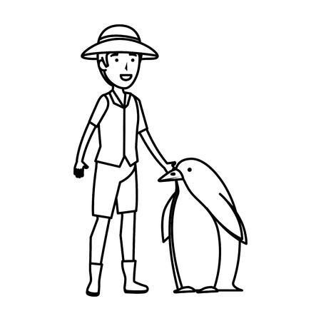 man worker of zoo with penguin vector illustration design Illusztráció