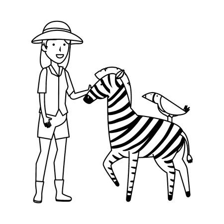 woman worker of zoo with zebra vector illustration design Stockfoto - 117340068