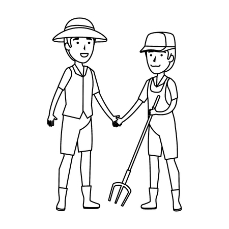 couple of workers zoo characters vector illustration design Stockfoto - 125077760