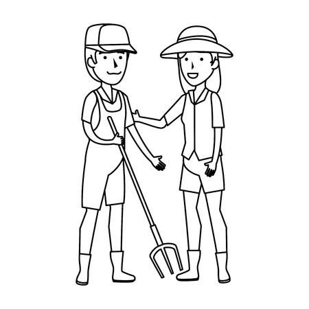couple of workers zoo characters vector illustration design  イラスト・ベクター素材