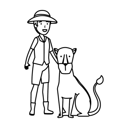 man worker of zoo with lioness vector illustration design