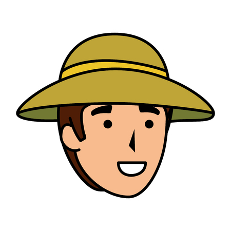 man worker of zoo head character vector illustration design