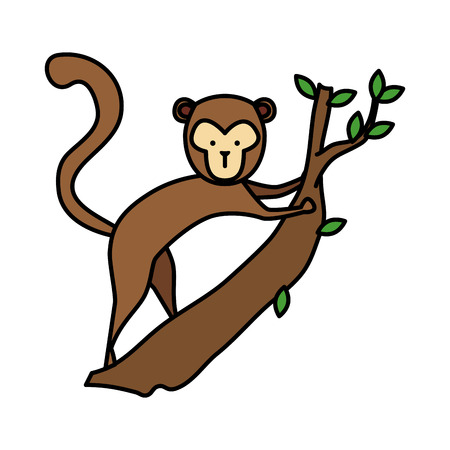 funny monkey wild character vector illustration design