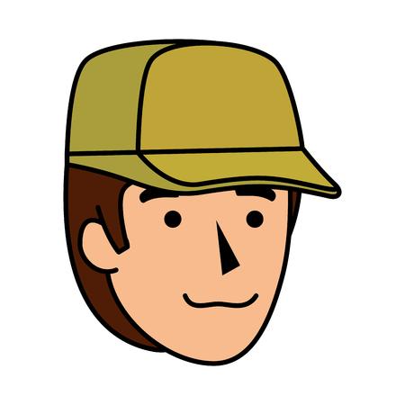 man worker of zoo head character vector illustration design Çizim