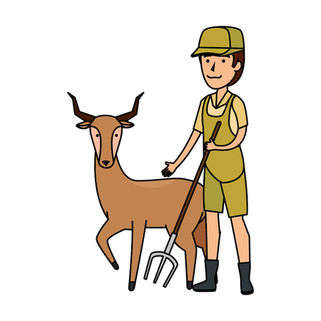 man worker of zoo with antelope vector illustration design  イラスト・ベクター素材