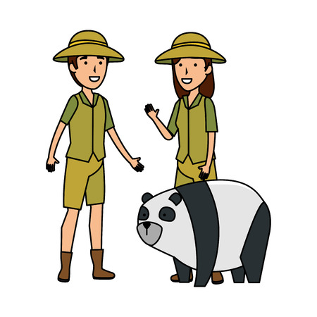 couple of workers zoo with panda bear vector illustration design