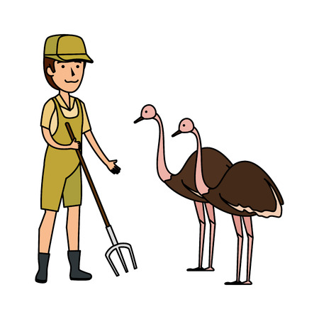 man worker of zoo with ostrich vector illustration design