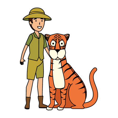 man worker of zoo with tiger vector illustration design Illustration
