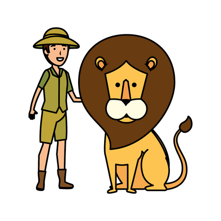 man worker of zoo with lion vector illustration design