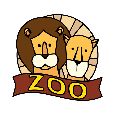 african lions couple characters vector illustration design Banque d'images - 125077793