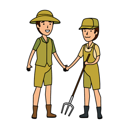 couple of workers zoo characters vector illustration design Stock Illustratie