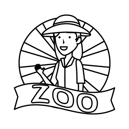 woman worker of zoo character vector illustration design  イラスト・ベクター素材