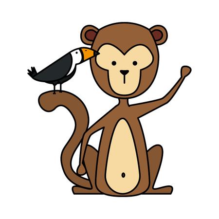 grappige aap wild karakter vector illustratie ontwerp Vector Illustratie