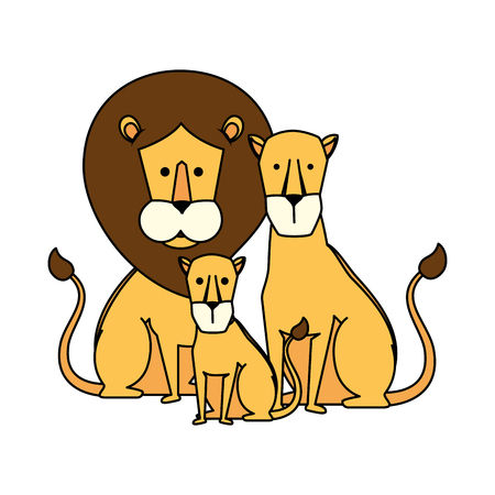 african lions family characters vector illustration design Foto de archivo - 125077810