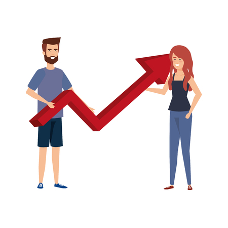 young business couple with statistics arrow vector illustration design