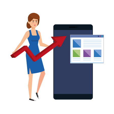 young woman with smartphone and statistics arrows vector illustration design