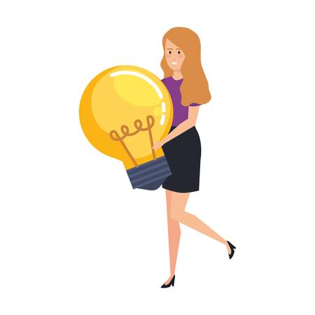 casual businesswoman lifting bulb vector illustration design Archivio Fotografico - 125077840
