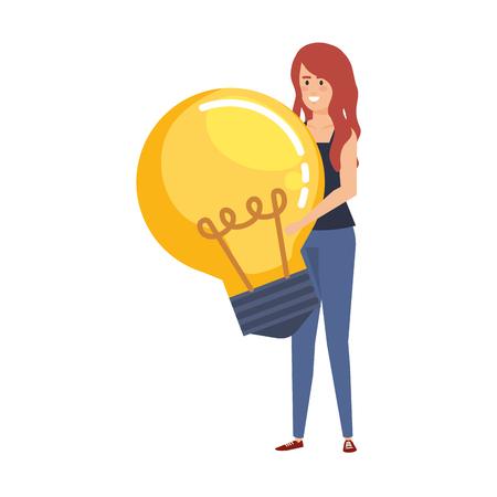 casual businesswoman lifting bulb vector illustration design Archivio Fotografico - 125077841