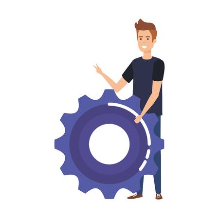 casual businessman lifting gear vector illustration design