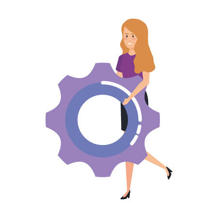casual businesswoman lifting gear vector illustration design Illustration