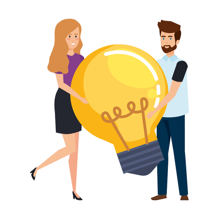 young business couple with bulb light vector illustration design Archivio Fotografico - 125077852
