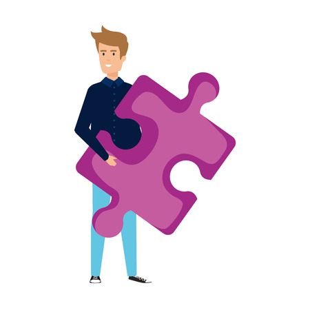 casual businessman lifting puzzle piece vector illustration design Stok Fotoğraf - 125077865
