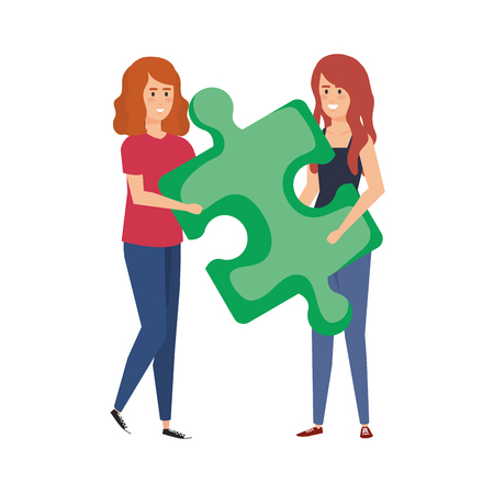 couple girls lifting puzzle game piece vector illustration design Çizim