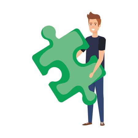 casual businessman lifting puzzle piece vector illustration design Stok Fotoğraf - 125077867