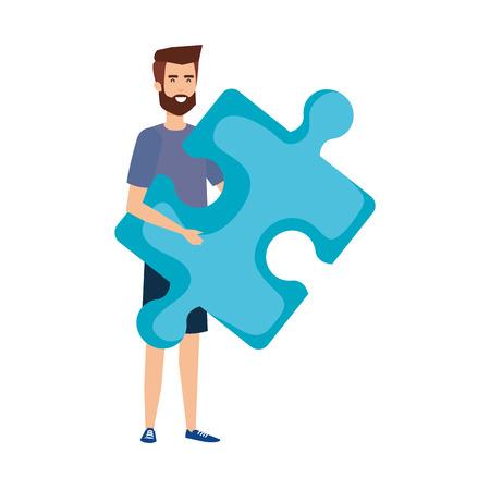 casual businessman lifting puzzle piece vector illustration design