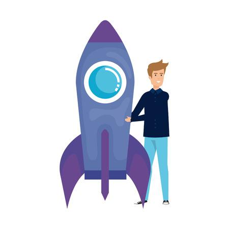 casual businessman with rocket vector illustration design Çizim