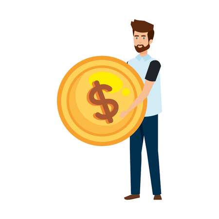 casual businessman lifting coin money vector illustration design Stok Fotoğraf - 125077906