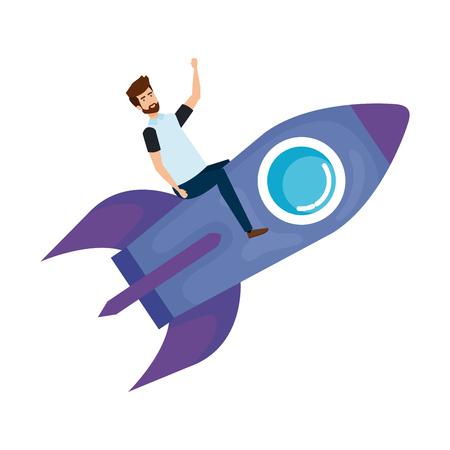 casual businessman flying in rocket vector illustration design Stok Fotoğraf - 125077911