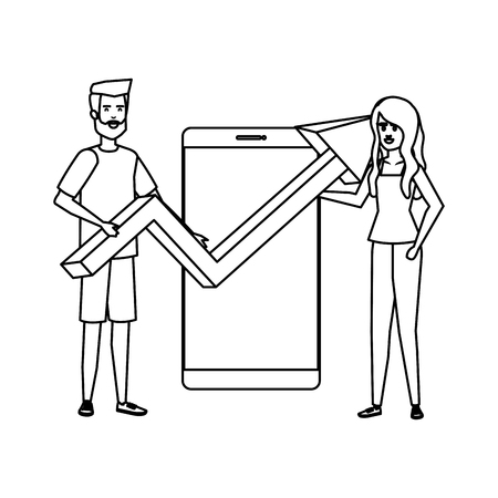 young business couple with smartphone and arrow vector illustration design Çizim